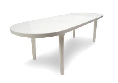 Mesa Oval de 2.40 x 90 cms con Pata Plástica Desmontable o Pata de Caño Plegable